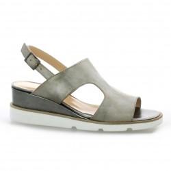 Benoite c Nu pieds cuir laminé bronze
