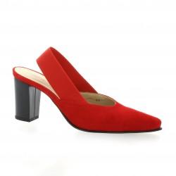 Vidi studio Escarpins cuir velours rouge