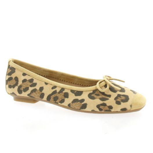 Reqins Ballerines cuir velours leopard/beige