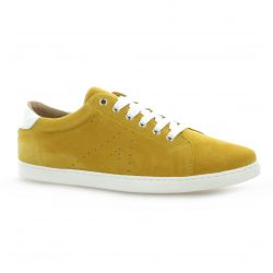 So send Baskets cuir velours jaune