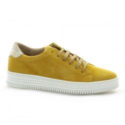 So send Baskets cuir velours jaune