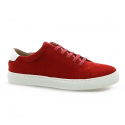 So send Baskets cuir velours rouge