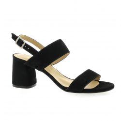 Tavares Nu pieds cuir velours noir