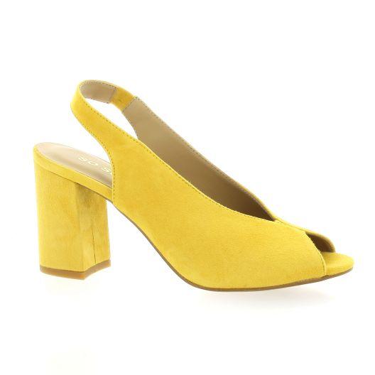 Tavares Nu pieds cuir velours jaune