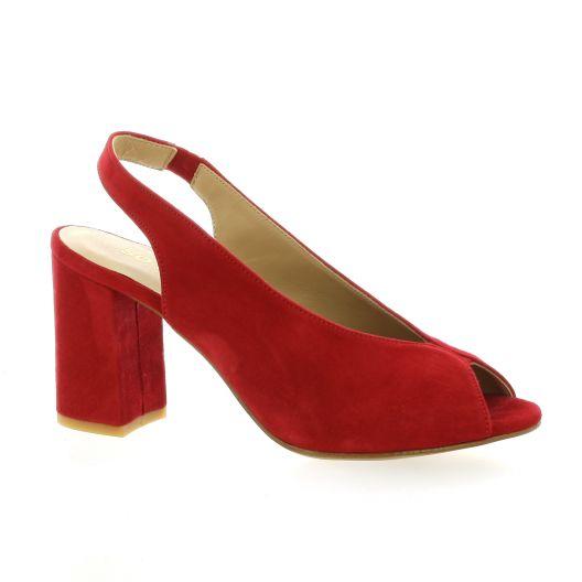 So Send Nu pieds cuir velours rouge