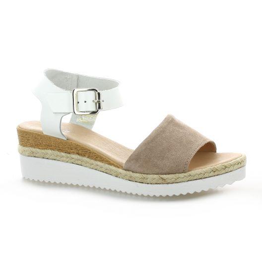 Reqins Nu pieds cuir velours blanc