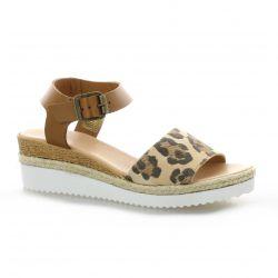 Reqins Nu pieds cuir velours leopard