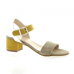 Reqins Nu pieds cuir velours taupe/ocre