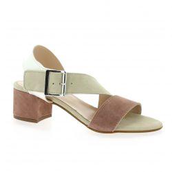 Reqins Nu pieds cuir velours rose/beige