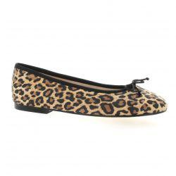 Exit Ballerines cuir velours leopard