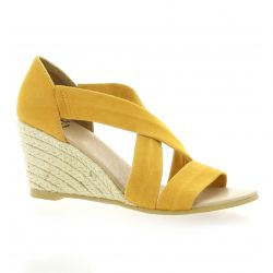 Exit Nu pieds cuir velours jaune