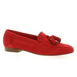 Exit Mocassins cuir velours rouge