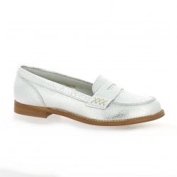 We do Mocassins cuir laminé argent