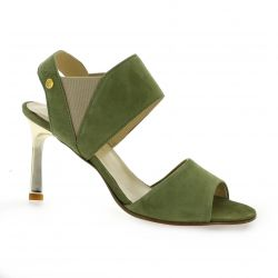 Elizabeth stuart Nu pieds cuir velours kaki
