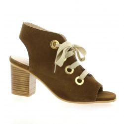 Impact Nu pieds cuir velours cognac