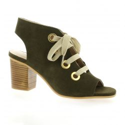 Impact Nu pieds cuir velours kaki