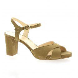 Brenda zaro Nu pieds cuir velours taupe