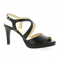 Brenda zaro Nu pieds cuir noir