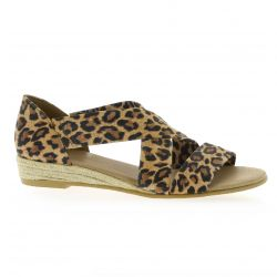 Exit Nu pieds cuir velours leopard