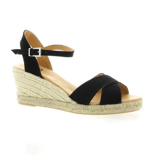 518a0a62751b55 Espadrilles compensées Pao toile noir chaussures 47S5