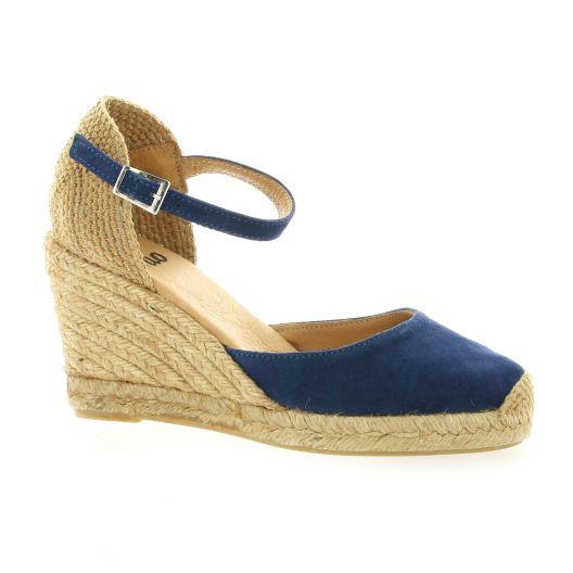 1f532916e6ad7f Espadrilles Pao chaussures compensées cuuir velours bleu 52S7P