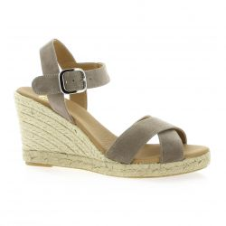 Pao studio Espadrille cuir velours taupe