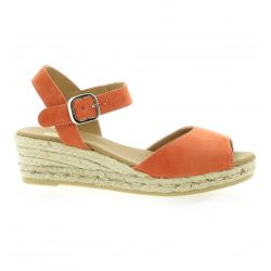 Pao Espadrille cuir velours orange