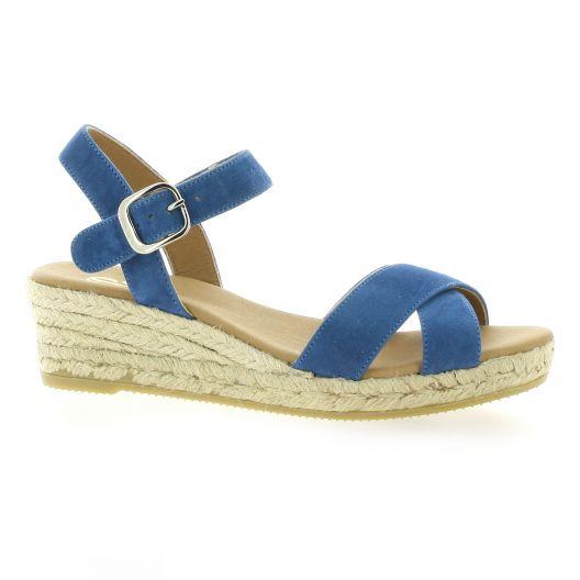 812ccb5e3d827e Espadrilles compensées Pao chaussures cuir velours bleu 606/A96