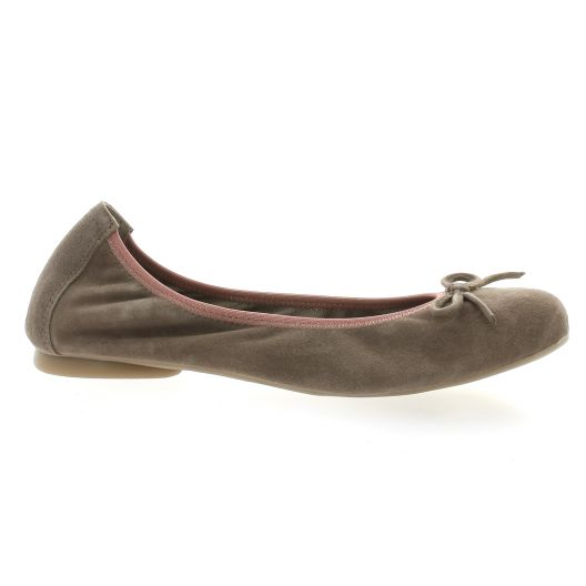 Latina Ballerines cuir velours taupe