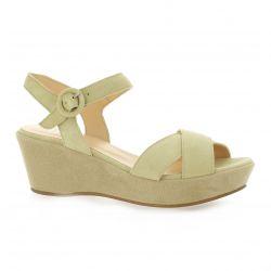 Brenda zaro Nu pieds cuir velours beige