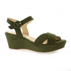 Brenda zaro Nu pieds cuir velours kaki
