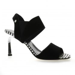 Elizabeth stuart Nu pieds cuir velours noir