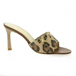 Elizabeth stuart Nu pieds cuir velours leopard