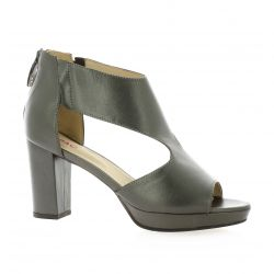 Vidi studio Nu pieds cuir laminé bronze