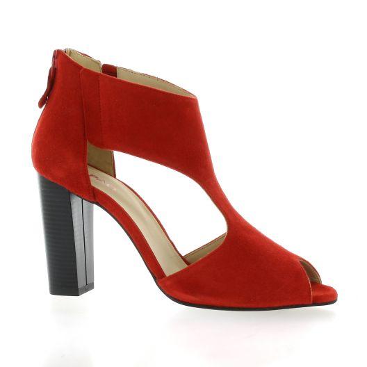 Vidi studio Nu pieds cuir velours rouge