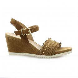 Alpe Nu pieds cuir velours camel