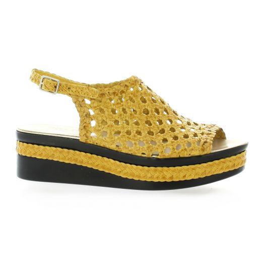Desfarges Nu pieds cuir jaune