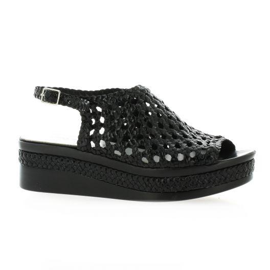 Desfarges Nu pieds cuir noir