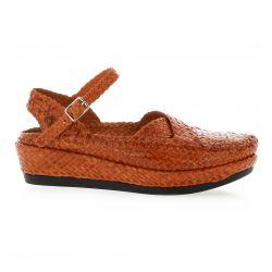 Desfarges Nu pieds cuir orange