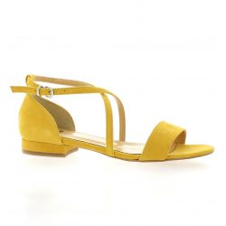 Pao Nu pieds cuir velours jaune