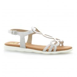 Pao Nu pieds cuir argent