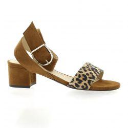 Vidi studio Nu pieds cuir velours leopard