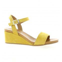 So send Nu pieds cuir velours jaune