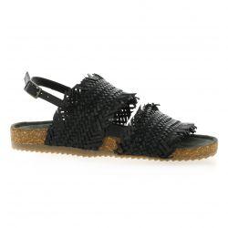 Mascha Nu pieds cuir noir