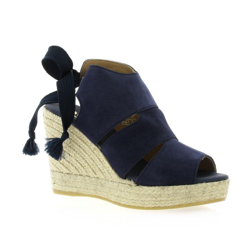 799b543e316ac0 Espadrilles compensées Pao chaussures cuir velours bleu marine 821S168
