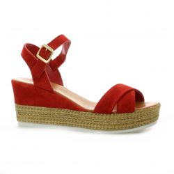 Pao Nu pieds cuir velours rouge