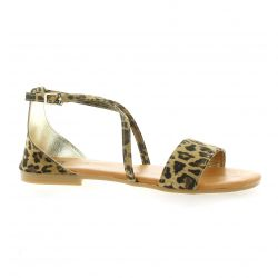 Pao Nu pieds cuir velours leopard