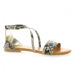 Pao Nu pieds cuir serpent taupe