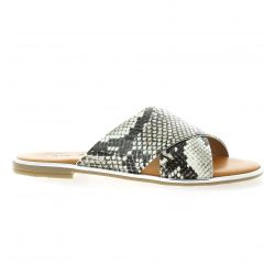 Pao Mules cuir serpent gris