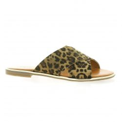 Pao Mules cuir leopard